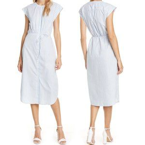 Joie NEW Keziah Stripe Cap Sleeve Midi Shirt Dress
